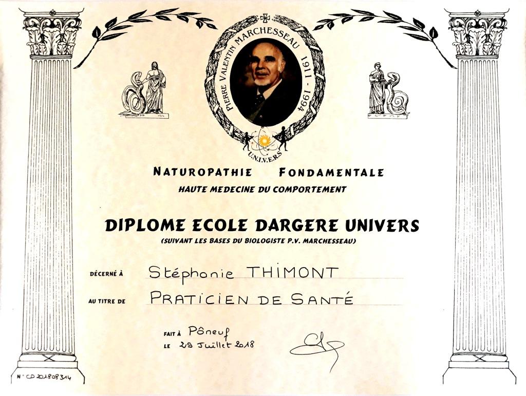 Diplôme Stéphanie Thimont naturopathe
